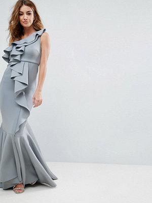 ASOS PREMIUM Scuba One Shoulder Ruffle Scuba Fishtail Maxi Dress