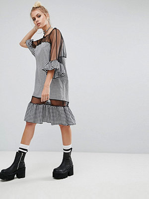 The Ragged Priest Oversized Mesh Dress With Gingham Trims