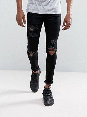 Mennace Muscle Fit Jeans In Black With Distressing