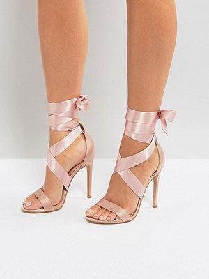 Sandaler & sandaletter - New Look Satin Ankle Tie Heeled Sandals
