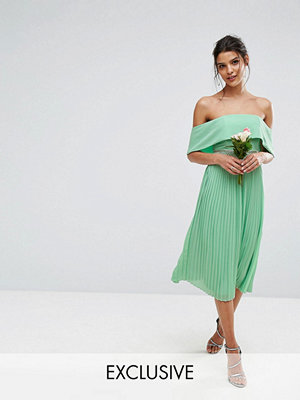 TFNC WEDDING Bardot Midi Dress with Pleated Skirt and Embellished Waist