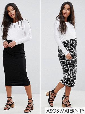 ASOS Maternity Over The Bump Longer Line Skirt 2 Pack Midi In Print & Plain - Black/print