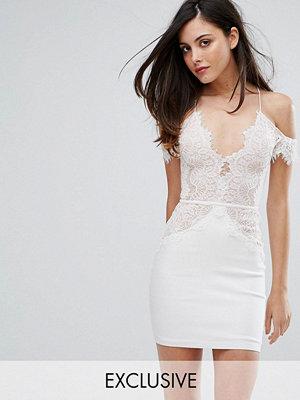 Ra-Re London Off Shoulder Mini Bodycon Dress In Scallop Lace
