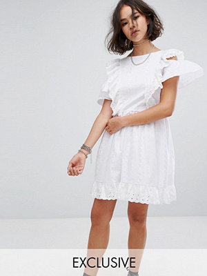 Reclaimed Vintage Inspired Broderie Mini Dress With Trims & Frills