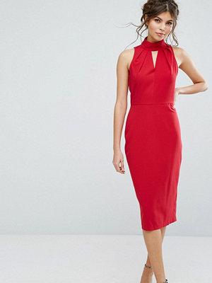Closet London Closet High Neck Midi Dress With Keyhole Detail
