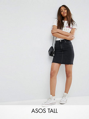 Asos Tall Denim Original High Waisted Skirt in Washed Black With Raw Hem