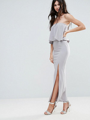 Missguided Grey Crepe Frill Side Split Maxi Dress