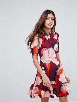 Closet London Closet Large Print Collar Pephem Dress - Maroon multi