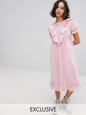 Reclaimed Vintage Inspired Midi Broderie Dress With Trims & Frills