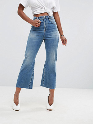 ASOS Rigid Crop Flare Jeans with Godet Inserts