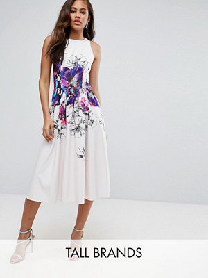 Little Mistress Tall Floral Printed Midi Prom Skater Dress