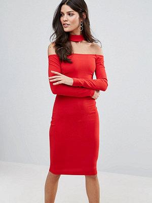 Jessica Wright Long Sleeve Choker Neck Midi Dress