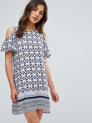 Qed London Printed Frill Cold Shoulder Dress
