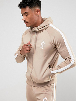 Street & luvtröjor - Gym King Muscle Track Hoodie In Stone