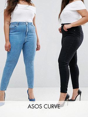 ASOS Curve Ridley Svarta 2-pack i skinny jeans i mellanblå tvätt