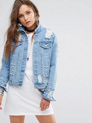 Jeansjackor - Glamorous Denim Jacket With All Over Stud And Distressing