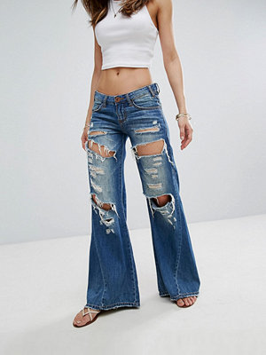 One Teaspoon Johnnies Low Waist Wide Leg Jean with Rips