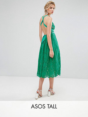 ASOS Edition ASOS TALL SALON Lace Pinny Backless Full Midi Prom Dress