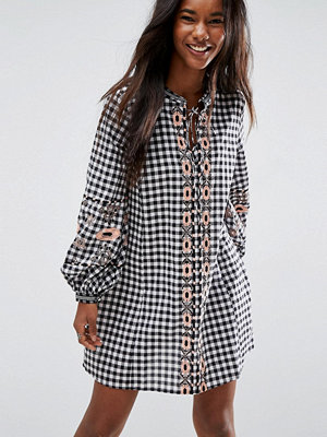 ASOS Long Sleeve Embroidered Dress in Gingham