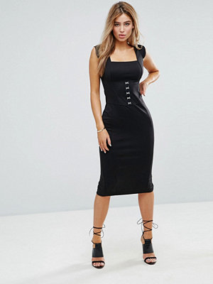 ASOS Seamed Midi Dress With Hook And Eye Corset Detail