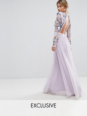 Frock and Frill Embroided Maxi Dress with Tulle Skirt and Open Back - Multi/mink