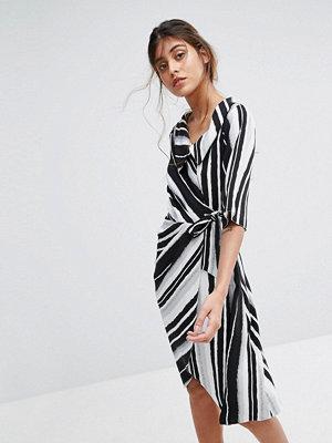 Closet London Wrap Front Striped Dress