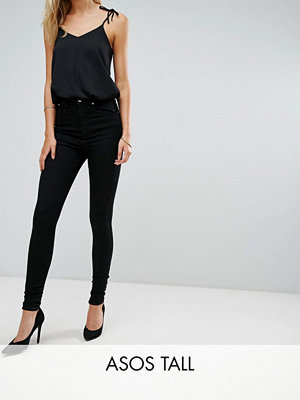 Asos Tall 'SCULPT ME' Premium Svarta jeans med hög midja Rensvarta