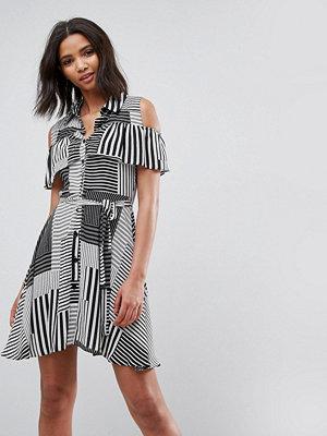 Liquorish Ruffle Front Cold Shoulder Dress In Mix Stripe