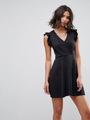 ASOS Mini Scuba Jersey Skater Dress With Frill Shoulder Detail