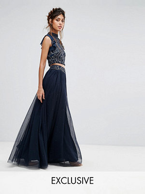 Lace and Beads Lace & Beads Tulle Maxi Skirt With Scattered Pearl Embellishment
