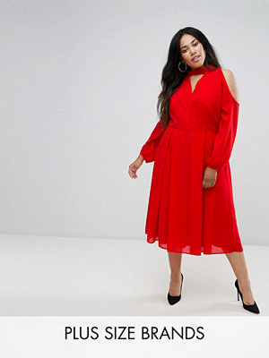 Truly You Long Sleeve Midi Dress With Cold Shoulder And Choker Detail