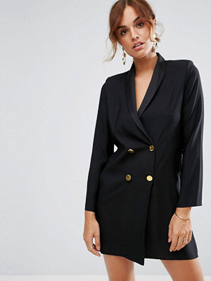 ASOS Tux Dress with Shoulder Pads and Gold Buttons