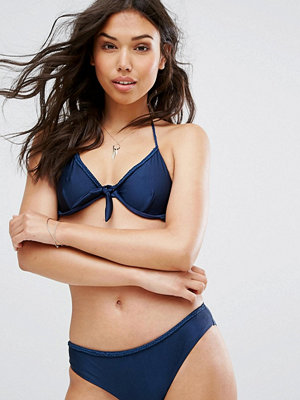 Warehouse Plait Detail Bikini Top - Navy metallic
