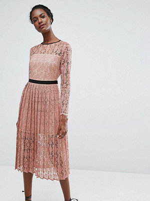 Endless Rose Lace Midi Dress With Pleated Skirt