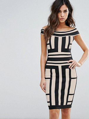 Wow Couture Off Shoulder Bandage Dress In Contrast Panelled Grid