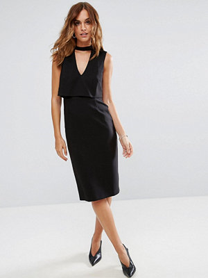 ASOS Midi Dress with Double Layer and Choker Detail
