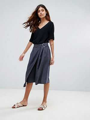 Selected Junee Belted A-Line Wrap Skirt