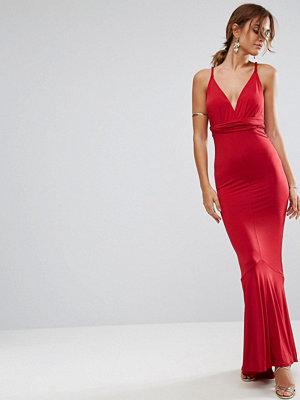 ASOS Slinky Deep Plunge Fishtail Plait Strap Maxi Dress