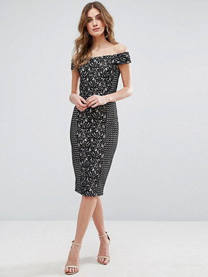 Warehouse Bardot Patchwork Lace Dress