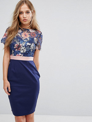 Paper Dolls 2 in 1 Midi Pencil Dress with Printed Lace Upper