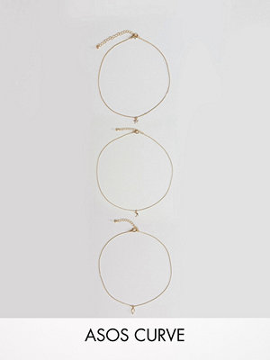 Chokers - ASOS CURVE Exclusive Pack of 3 Chain Choker and Layering Necklaces