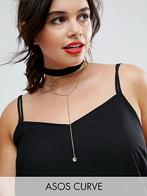 Chokers - ASOS Curve Exclusive Sleek Choker and Lariat Multirow Necklace