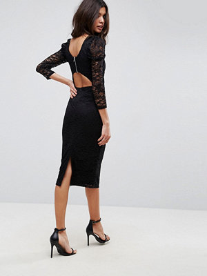 ASOS Lace Midi Dress With Puff Sleeve And Cut Out Back
