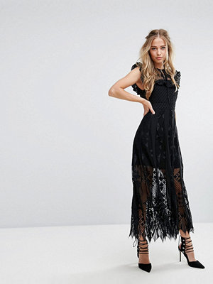 Foxiedox Lace Midi Dress with Ruffle Sleeves