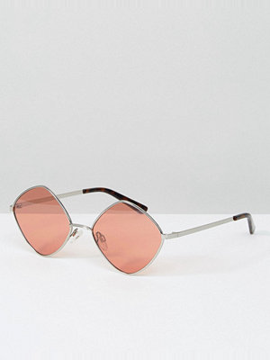 South Beach Diamond Frame Glasses with Tinted Rose Lens