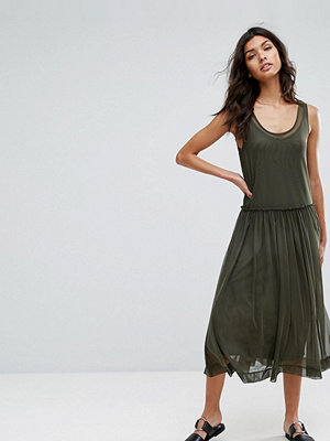 Selected Printed Mesh Midi Dress