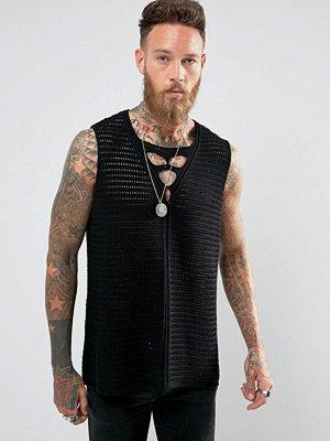 Tröjor & cardigans - ASOS Sleeveless Textured Vest With Crochet Detail In Black