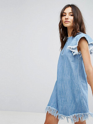 Pull&Bear Denim Dress With Distressing