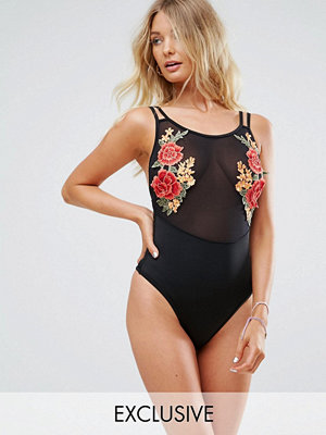 Baddräkter - Wolf & Whistle Embroidered Mesh Swimsuit B-F Cup