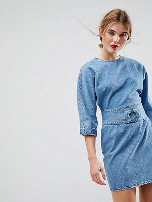 ASOS Denim Dress With Belt and Ring Detail in Midwash Blue